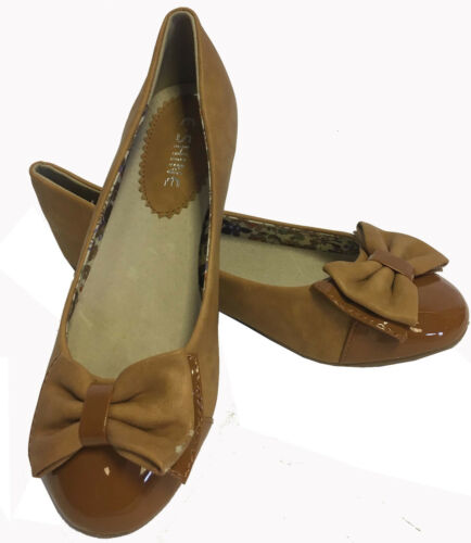 WOMENS LADIES TAN BROWN CORAL PATENT SUEDE BOW ROUND TOE FLAT DOLLY FLAT SHOES