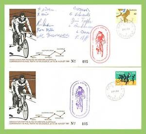 Australia-1988-Association-for-Blind-Cycle-Ride-commemorative-covers-one-signed