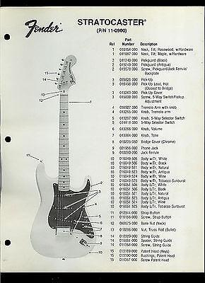Fender Stratocaster Price >> Rare Factory Fender Stratocaster 11 0900 Guitar Dealer Sheets Parts Price List Ebay
