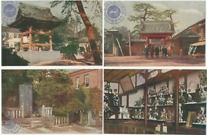 47-Ronin-Sengakuji-Temple-Tokyo-Four-1920s-Japanese-Colored-Photo-Postcards