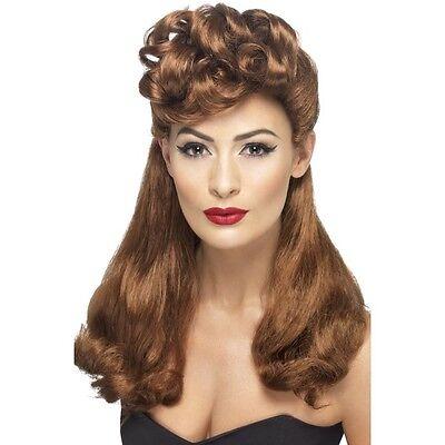 Women/'s Auburn VINTAGE Parrucca Lunga Parte Superiore riccioli anni/'40 anni/'50 elegante GALLINA Pin Up Girl modello