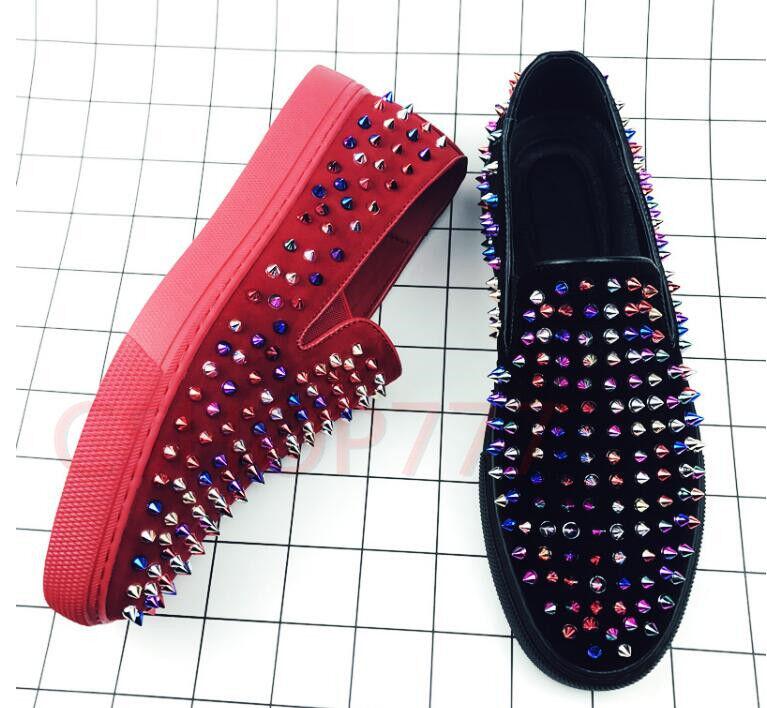 fefe1bdab977d 18 Mens stylish colorful studded slip on loafers club Rivet Rivet Rivet flat  chic shoes hot ...