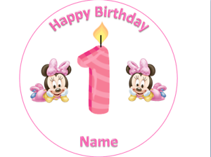 Prime 1St Birthday Baby Minnie Mouse Cake Topper Round 7 5 Wafer Icing Funny Birthday Cards Online Unhofree Goldxyz