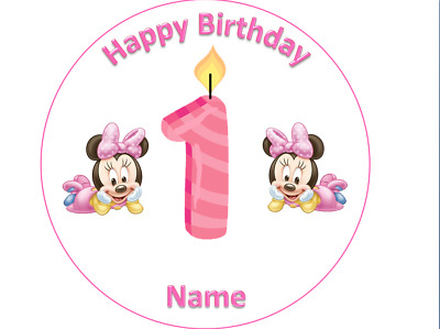 Remarkable 1St Birthday Baby Minnie Mouse Cake Topper Round 7 5 Wafer Icing Funny Birthday Cards Online Alyptdamsfinfo