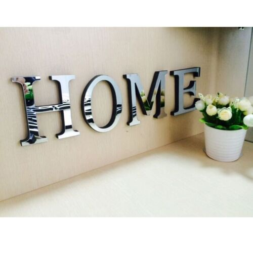 Home Decoration - Acrylic 4 Letters Home Mirror Tiles Wall Stickers Self-Adhesive Stick On Decor