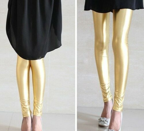 Womens Faux Leather Shiny Stretch Leggings Pants Ladies Gold Silver Black Blue
