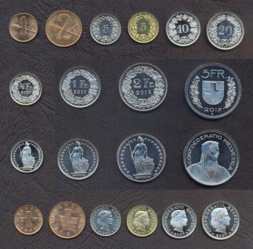 SWITZERLAND FULL COIN SET 1+2+5+5+10+20 Rappen 1//2+1+2+5 Franken UNC LOT of 10
