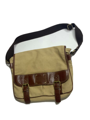 Fossil Canvas Tan Leather Crossbody Messenger Bag