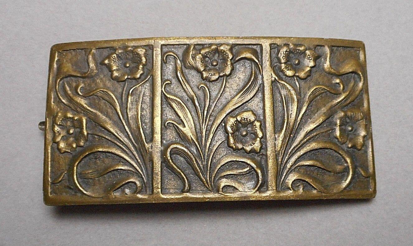 Antique Art Nouveau Arts & Crafts Floral Plaque Coat Brooch - Heavy Cast Metal