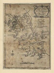 1775- Boston Harbor, plans, MAP, Massachusetts, antique home decor ...