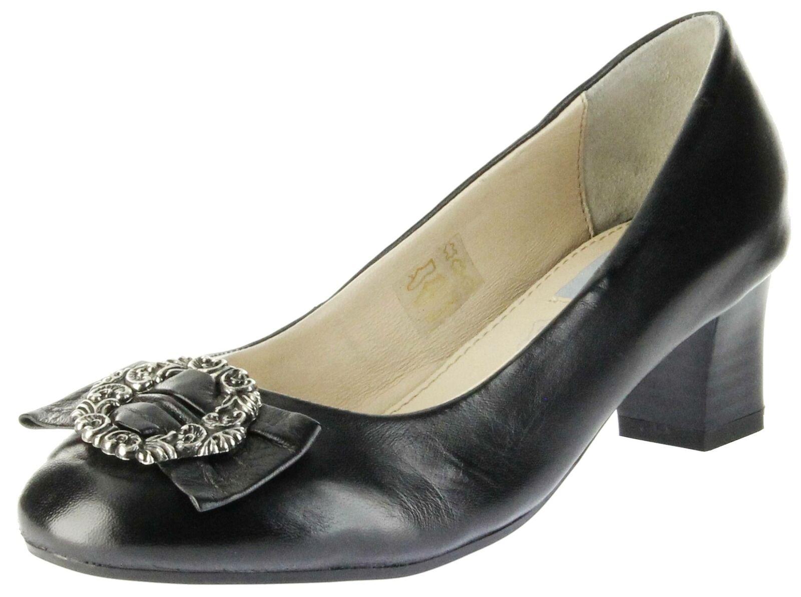Bergheimer Trachtenschuhe Trachten Pumps schwarz Glattleder Damen Schuhe Luise