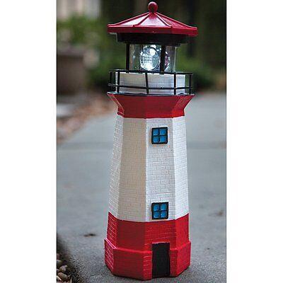 Solar Lighthouse with Rotating Lamp Backyard Outdoor Garden Lawn Yard Decor