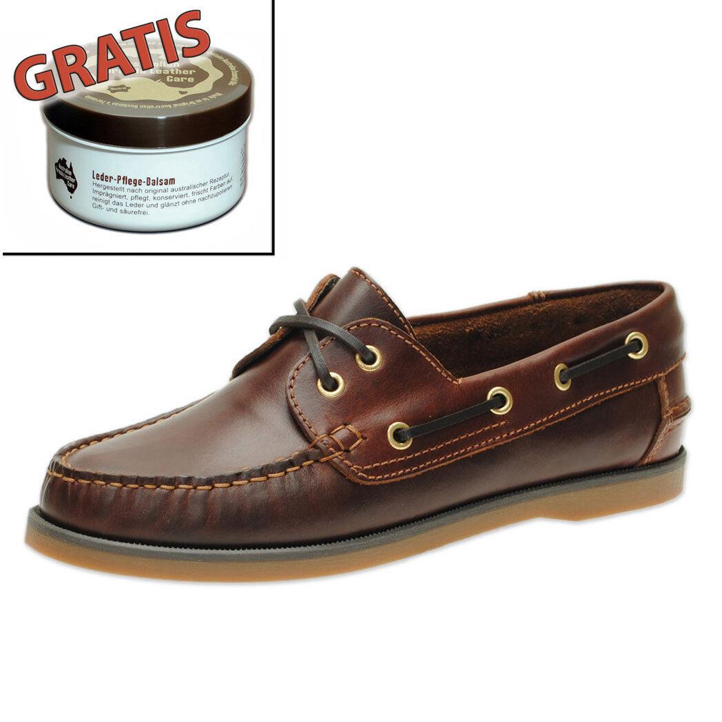 Jim Boomba Boat Shoes - Segelschuhe Mokassins aus Leder - Rotbraun + Lederpflege
