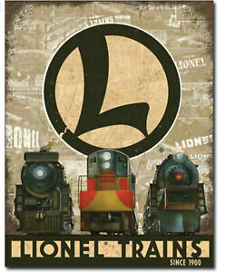 Lionel-Locomotive-Train-Metal-Tin-Ad-Sign-Picture-Room-Railroad-Wall-Decor-Gift