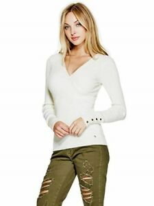 GUESS-Sweater-Women-s-Slim-Fit-Rib-Knit-Wrap-Front-Sweater-Buttons-XS-Ivory-NWT