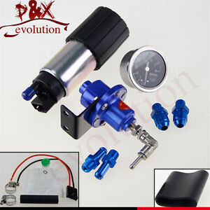 255 LPH EFI Fuel Injection Pump/Tank +Oil Gauge+ 140 PSI Pressure Regulator Blue