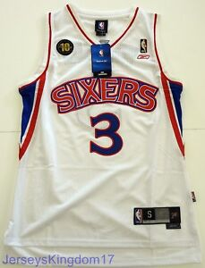 low priced 9224c 54ac9 Details about Throwback Jersey ALLEN IVERSON 3 Philadelphia 76ers White /  Blue / Red Mens NWT