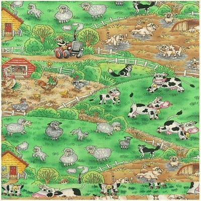 Funny Farm Farmyard Animals  100% Cotton Fabric by Nutex  FQ