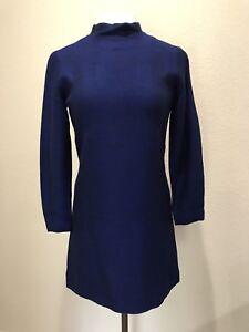 Details about Vintage 1960s 60s Royal Blue Mod Long Sleeve Micro Mini Dress Size Medium M