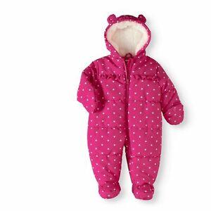 Newborn Baby Girl Puffer Snowsuit Pram Pink Size 9 12 Months Br1 Ebay