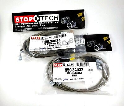 STOPTECH STAINLESS STEEL BRAIDED REAR BRAKE LINES FOR 08-13 BMW M3 E90