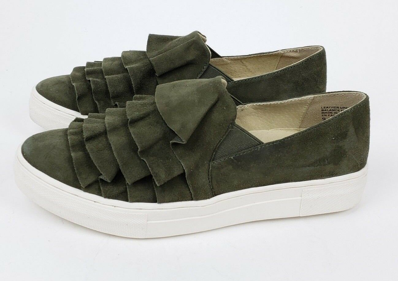 New Seychelles Quake Ruffle Suede Slip-On Sneaker Womens 9 Olive Green Shoes