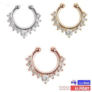 Diamond-Fake-Clip-On-Gem-Septum-Clicker-Nose-Hanger-Ring-Piercing-Jewellery