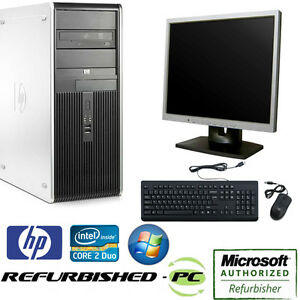 clearance fast hp desktop tower computer pc core 2 duo windows 10 lcd kb ms ebay. Black Bedroom Furniture Sets. Home Design Ideas