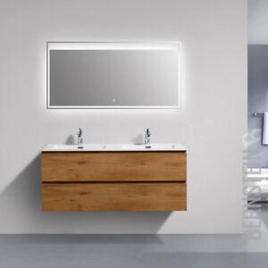 Dettagli su Mobili da Bagno Set Alice Lavandino Doppio Lavabo per Stanza  LED Specchio 120cm