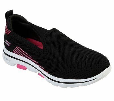 skechers shoes black pink go walk 5 women's casual slip on