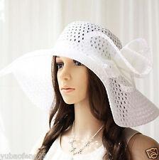 58cm Summer Women Straw Wide Large Brim Floppy Fold Sun Beach Derby Hat White