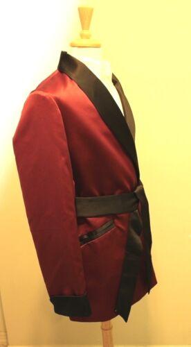 Burgundy Mens Smoking Jacket Fully Lined Black  Satin
