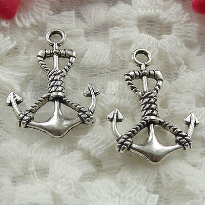 Free Ship 65 pieces Antique silver anchor charms 25x18mm #220