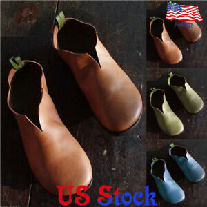 Women-Vintage-Leather-Round-Toe-Slip-On-Loafers-V-Cut-Casual-Flat-Single-Shoes