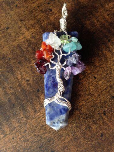 Blue Stone Tree Of Life Chakra Pendant Lapis Lazuli Silver Wire Wrap Necklace