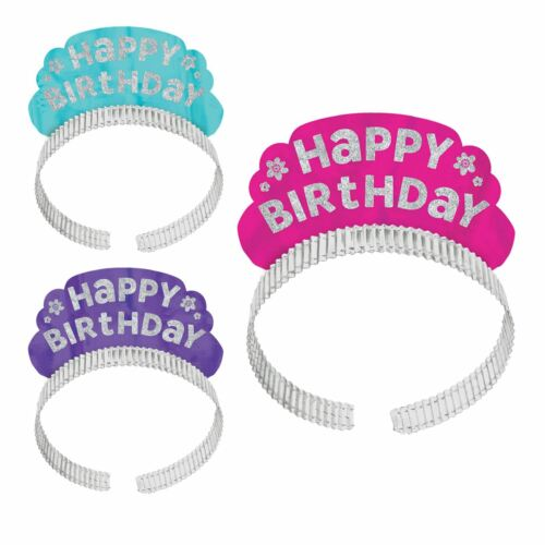 12 x Girls Ladies Happy Birthday Princess Crown Tiara Headbands Party Night Pink