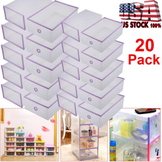 20Pcs Double Plastic Clear Shoe Box Foldable Storage Case Organizer Stackable US