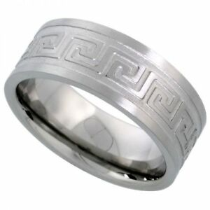 Men-039-s-Comfort-Fit-Stainless-Steel-Size-11-Wedding-Band-8mm-Engraved-Design-C25