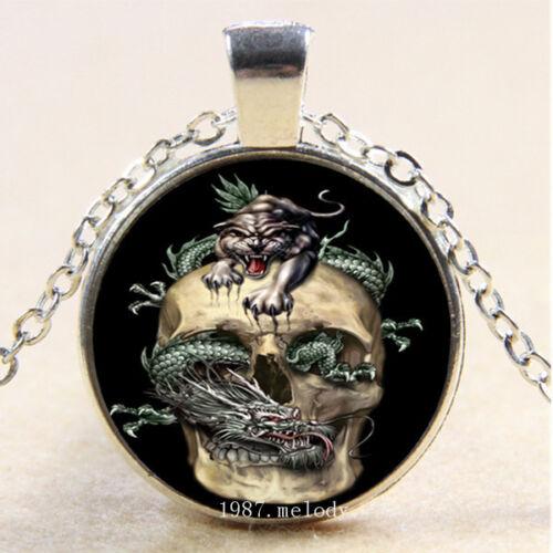 Photo Cabochon Glass Silver popular Pendants chain Necklace(tk dragon
