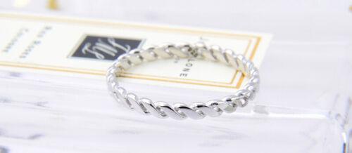 925 Véritable Argent Sterling Twist corde Anneau Taille 6 7 8 Mariage Femmes Fille Cadeau