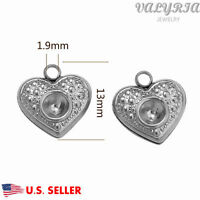 Wholesale Stainless Steel Crystal Heart Charms Jewelry Making Findings 13x12mm