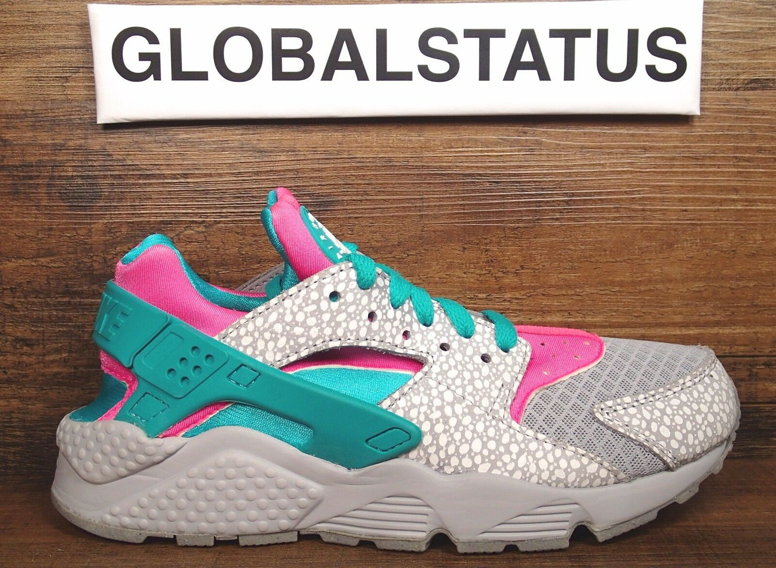 WOMENS NIKE ID AIR HUARACHE RUN PRM SAFARI GREY PINK TURQ SHOES 777331 991 Price reduction Comfortable and good-looking