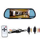 "7"" LCD Car Rear View Backup Mirror Monitor+Wireless Reverse IR Camera System Kit"