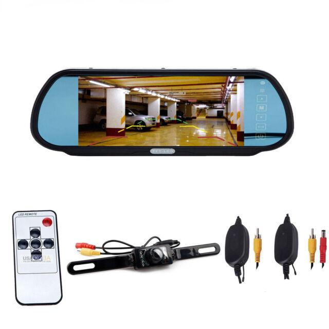 "7"" LCD Screen Car Rear View Backup Mirror Monitor+Wireless Reverse Camera Kit"