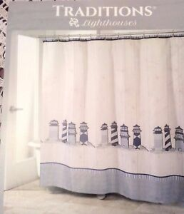 Traditions-LIGHTHOUSES-Shower-Curtain-Fabric-Antique-Shiplap-Background-New
