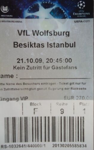 Besiktas Istanbul VIP TICKET UEFA Cup 2009//10 VfL Wolfsburg