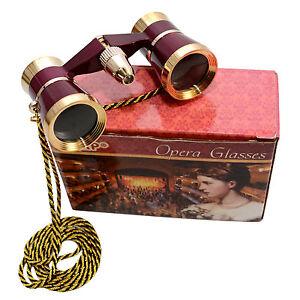 HQRP 3x25 Optics Opera Glass Classical Theater Binocular with Necklace Chain