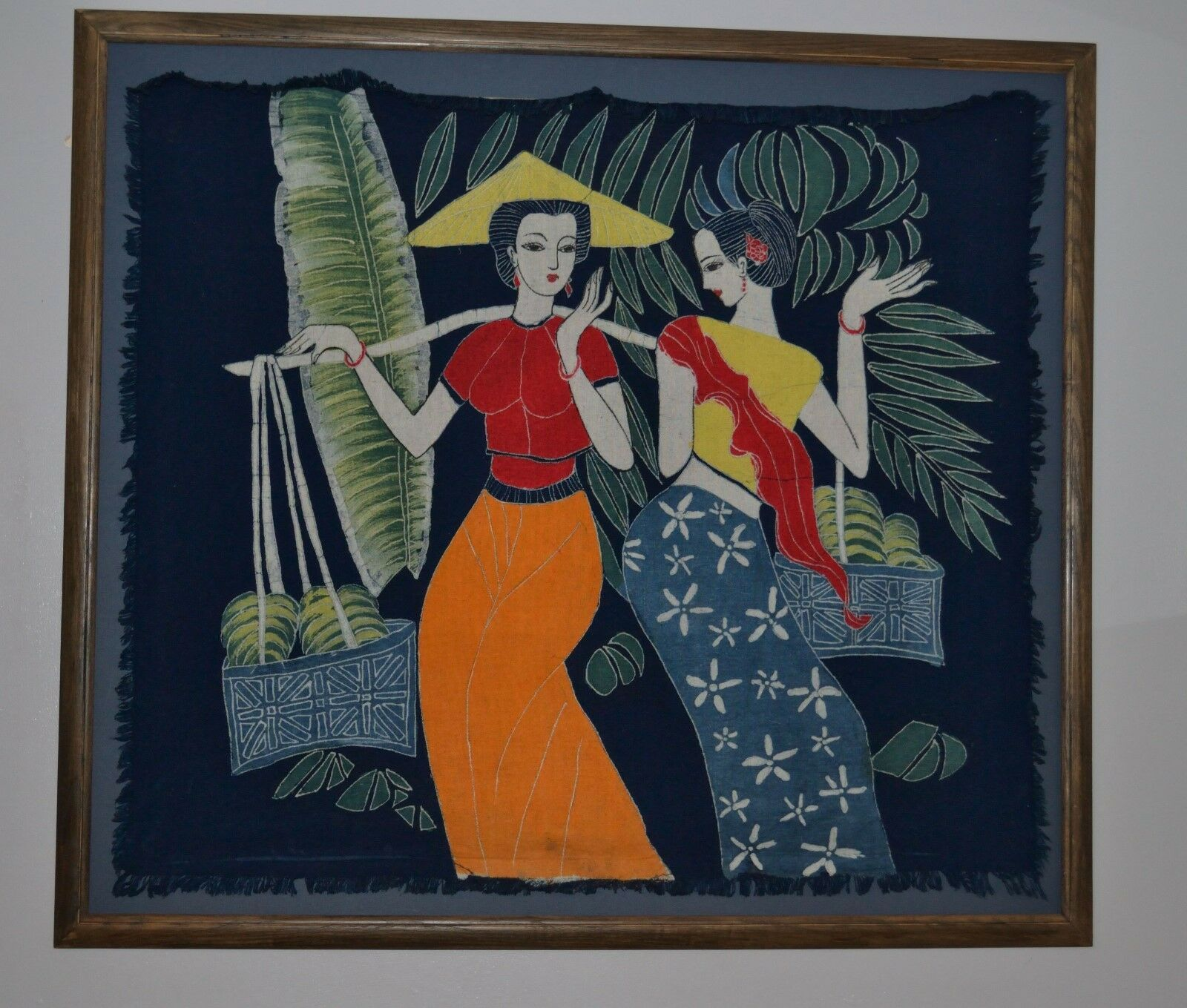Beautiful Large Wall Hanging Framed Handpainted Eastern Linen, Female Figures