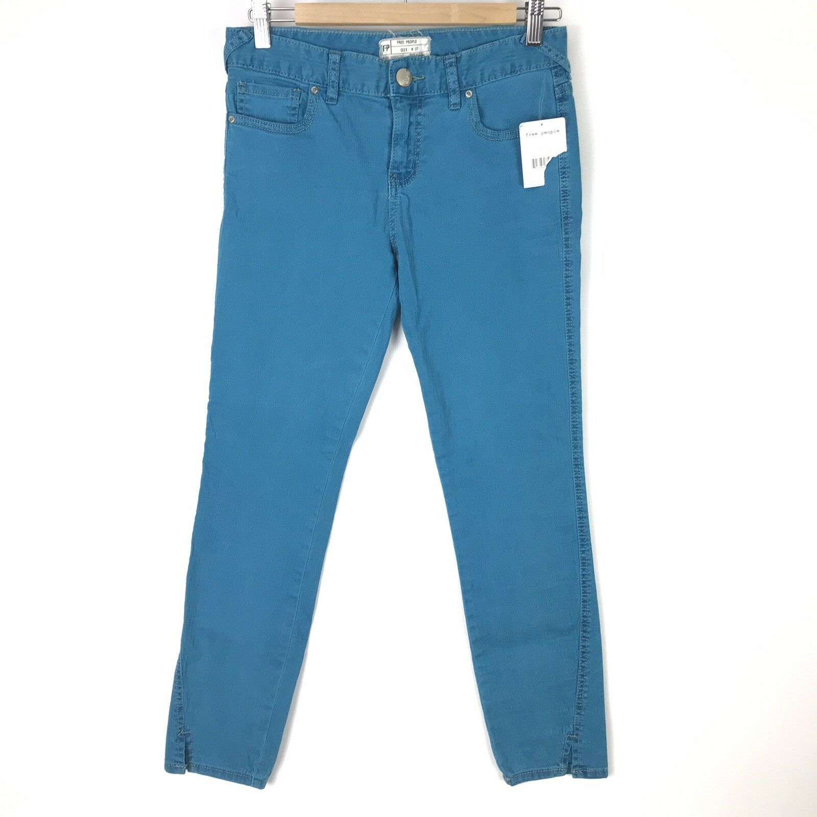 NWT Free People Womens Size 27 Skinny Crop Jeans Stormer bluee Turquoise