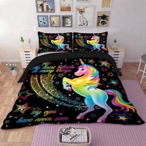 Black-Colorful-Unicorn-Duvet-Doona-Quilt-Cover-Set-Double-Queen-King-Size-Bed